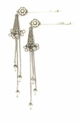 Swarovski Crystal Floral & Multi Strand Drop Bobby Pins by Kenny Ma