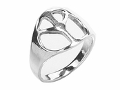 Polished Peace Sign Sterling Silver Ring