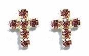 Pink Crystal  Mini Cross Stud Earrings