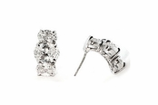 3-Stone Oval Swarovski CZ's Earrings