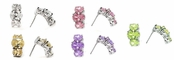Swarovski CZ 3-Stone Semi Hoop Earrings