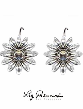 Swarovski Crystal Antiqued Flower Leverback Earrings by Liz Palacios