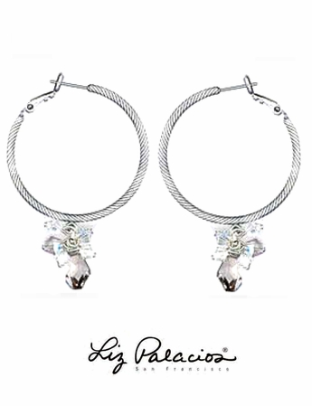 Swarovski Crystal Silver Shade Cluster Hoop Earrings by Liz Palacios