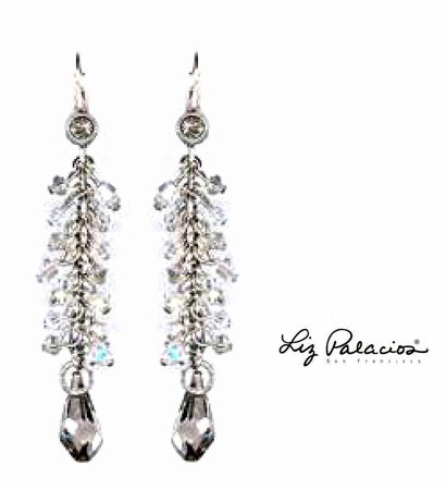Swarovski Crystal Silver Shade Line Drop Earrings by Liz Palaciosq