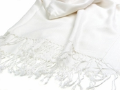 White Pashmina Scarf by Baked Beads