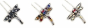 Crystal Multi Tropical Dragonfly Necklace