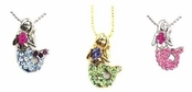Crystal Multi Mermaid Pendant Necklace