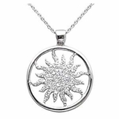 Sun Ray Designer Style CZ Sterling Silver Necklace