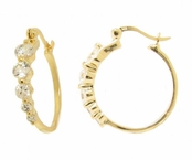 5-Stone CZ Journey Hoop Earrings