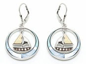 Blue Shell Circle Golden Shell Sailboat Earrings
