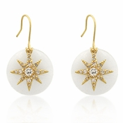 CZ Sunray Moonstone Layered Earrings