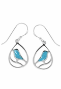 Turquoise Inlay Bird in Teardrop Earrings by Boma