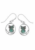 Turquoise Inlay Owl Circle Drop Earrings by Boma