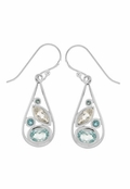 Blue Topaz Multi Gemstone Teardrop Earrings by Boma