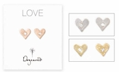Dogeared Diamond Love Heart Earrings