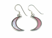 Pink Shell Inlay Moon Earrings