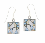 Multi Shell Mosaic Inlay Square Drop Earrings by Indigo