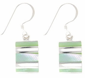 Multi Greenshell & Mother of Pearl Earrings by Indigo