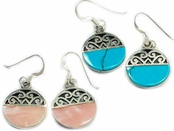 Inlay & Filigree Disc Drop Earrings