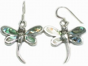 Abalone Inlay Dragonfly Earrings