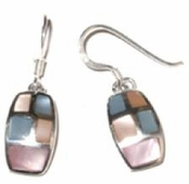 Multi-Color MOP Inlay Barrel Drop Earrings