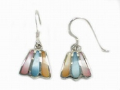Multi-Color Mother of Pearl Inlay Fan Earrings
