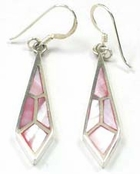 Pink Mother of Pearl Inlay Checkered Drop Earrings