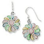 MOP Inlay Multi Color Flower Dangle Earrings