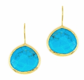 As Seen in Women's Day! Made in the USA Turquoise Yellow Gold Sterling Silver Earrings