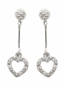 Heart Pave'd CZ Dangle Earrings