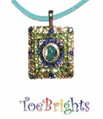 Tuquoise Square Crystal Necklace by Toe Brights