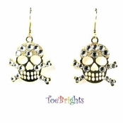 Pirate Gold X Skull Drop Earrings by Toe Brights