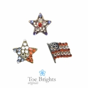 Patriotic Crystal Toe Ring by Toe Brights