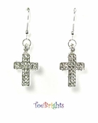 Crystal Cross Earrings by Toe Brights