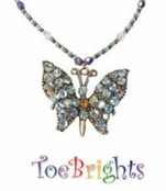 Monarch Blue Butterfly Crystal Necklace by Toe Brights