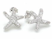 Pave'd CZ Starfish Earrings