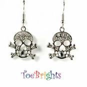 Crystal Skull & Crossbones Earrings by Toe Brights