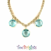 Bold Aqua Crystal Drops Necklace by Toe Brights