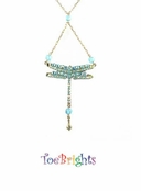 Turquoise Crystal Dragonfly Drop Necklace by Toe Brights
