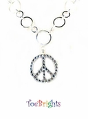 Crystal Peace Sign Necklace by Toe Brights