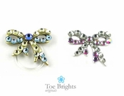 Bold Crystal Bow Illusion Band Toe Ring by Toe Brights