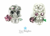 Crystal Skull & Flower Illusion Band Toe Ring by Toe Brights