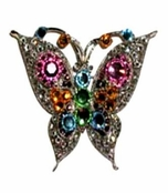 Swarovski Crystal Multi Butterfly Brooch by Toe Brights