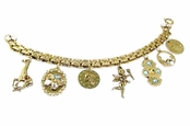 Multi Gold Charms Victorian Style Bracelet by Toe Brights
