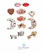 Hearts Moons & Love Crystal Toe Rings by Toe Brights