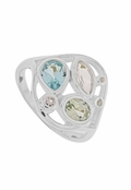 Blue Topaz Multi Gemstone Ring by Boma