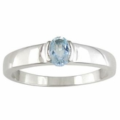 Blue Topaz Solitaire Sterling Silver Band Ring