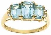14K Blue Topaz Emerald Cut Diamond Accent Ring