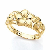 14K Yellow Gold Plumerias Band Ring