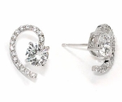 Swarovski CZ Solitaire Semi Heart Earrings